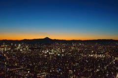 De schemering van Tokyo Stock Afbeeldingen