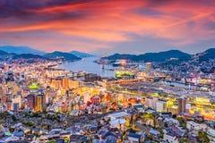 De Schemeringhorizon van Nagasaki, Japan stock foto