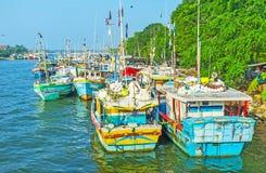 De schepen in Negombo-lagune Royalty-vrije Stock Foto