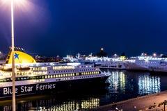 De schepen van ANEK en BSF-bij Piraeus Haven zijn ingescheept die Royalty-vrije Stock Fotografie