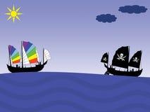 De schepen van de vrede en van de Piraat Stock Foto's