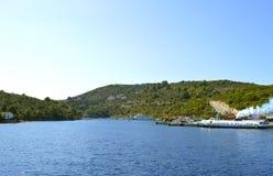 De schepen van de de toeristencruise van de Antipaxoshaven Stock Afbeeldingen