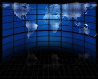 De schermen met ontworpen kaart van aarde Stock Foto's