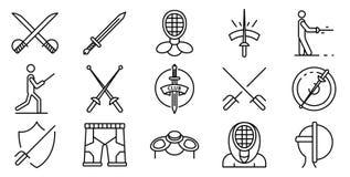 De schermende geplaatste pictogrammen, schetsen stijl vector illustratie