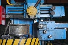 De scherpe ijzer genomen close-up van de draaibankmachine Stock Afbeeldingen