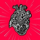 De schets anatomisch hart van de handtekening Van letters voorziende krabbel vectorillustratie Vele inspiraties in hartvorm royalty-vrije illustratie