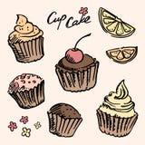 De schets cupcake plaatste Stock Afbeelding