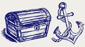 De schets en het anker van de borst Royalty-vrije Stock Foto's