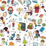 De schets naadloos patroon van de jonge geitjesschool Stock Afbeelding