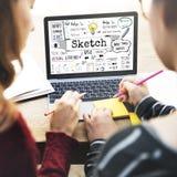 De schets neemt nota van het Creatieve Grafische Concept van het Tekeningsontwerp stock foto's