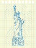 De schets trekt van standbeeld van vrijheid Royalty-vrije Stock Afbeeldingen