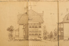 De schets van architecten van huis Stock Afbeelding