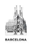 De schets van Basiliek en Expiatory Kerk van de Heilige Familie Stock Foto's