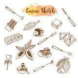 De schets van de chocoladecacao Ontwerpmenu voor restaurant, winkel, culinaire banketbakkerij, koffie, cafetaria, bar Vector illu stock illustratie