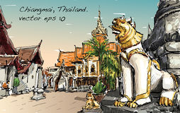 De schets van cityscape toont de ruimte van de de stijltempel van Azië in Thailand, IL vector illustratie