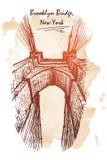 De schets van de de Brugreis van Brooklyn op een grungeachtergrond Royalty-vrije Stock Fotografie