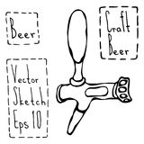 De Schets van de de Krabbelstijl van de bierkraan Vector illustratie Stock Foto's