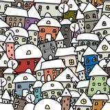 De schets van de de winterstad, naadloos patroon voor uw Royalty-vrije Stock Fotografie