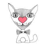 De schets van de kattenliefde Royalty-vrije Stock Afbeelding