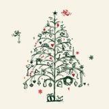 De schets van de kerstboom Stock Afbeeldingen