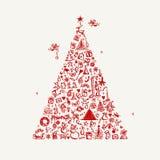 De schets van de kerstboom voor uw ontwerp Stock Foto