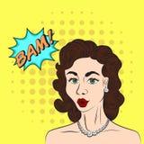 De schets van de pop-artstijl van mooie donkerbruine vrouw die BAM zeggen! verstand Stock Afbeelding