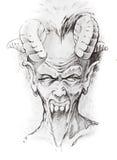 De schets van de tatoegering van duivelshoofd Stock Foto