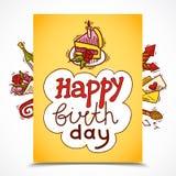 De schets van de verjaardagskaart Royalty-vrije Stock Foto
