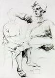 De schets van de vrouw stock illustratie
