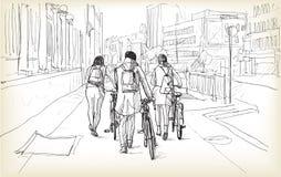 De schets van fietsruiter in Berlijn, vrije hand trekt illustratie royalty-vrije illustratie