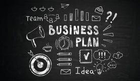 De schets van het businessplan op bord royalty-vrije stock foto's