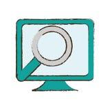 de schets van het de computerapparaat van het monitoronderzoek Stock Foto