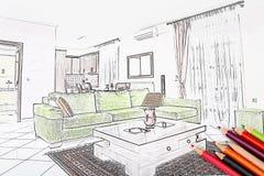 De schets van het huis royalty-vrije stock afbeeldingen