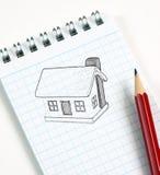 De schets van het huis in potlood Stock Afbeeldingen