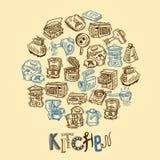 De schets van het keukenmateriaal Royalty-vrije Stock Fotografie