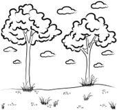 De schets van het landschap Stock Afbeeldingen