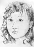 De schets van het meisjesportret Stock Afbeelding