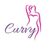 De schets van het meisjessilhouet plus groottemodel Het symbool van de Curvyvrouw Vector illustratie Stock Foto's