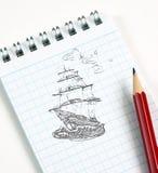 De schets van het schip in potlood Stock Afbeelding