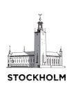 De schets van het stadhuis van Stockholm Stock Afbeelding
