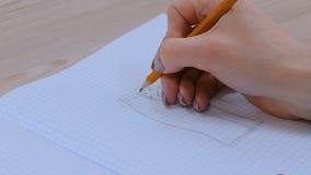 De schets van het de tekeningsontwerp van de manierontwerper stock video