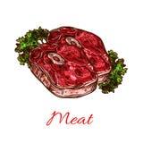 De schets van het vleeslapje vlees voor voedselontwerp stock illustratie