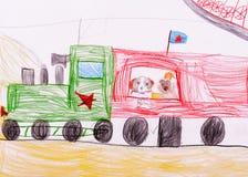 De schets van kinderen. Honden die door trein reizen Stock Fotografie