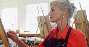 De schets van de kunstenaarstekening op canvas 4k stock video