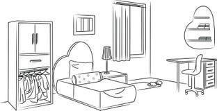 De Schets van de meisjesslaapkamer en Overzichtsillustratie Stock Fotografie