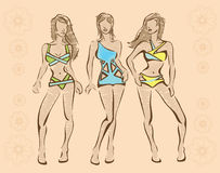 De schets van swimwear stock illustratie