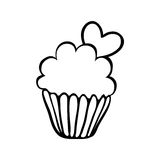 De schets van Valentine cupcake met één hart Stock Foto's