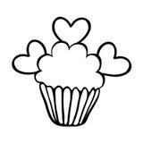 De schets van Valentine cupcake met drie harten Stock Foto