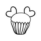 De schets van Valentine cupcake met twee harten Stock Fotografie