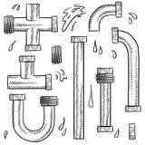 De schets van waterpijpen stock illustratie